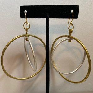 Artisan Gold & Silver Metal Circle Earrings